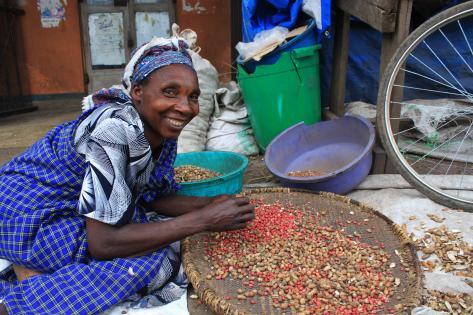 Jordnødderne pilles - hér af ældre kvinde i Kisoro. Foto af Lisbeth Kristine Olesen